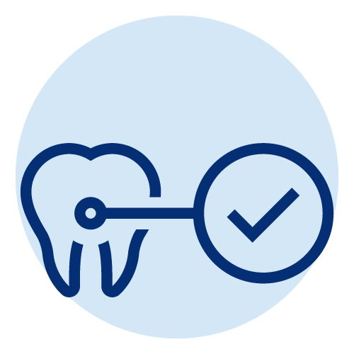 Icon of a tooth with a check mark