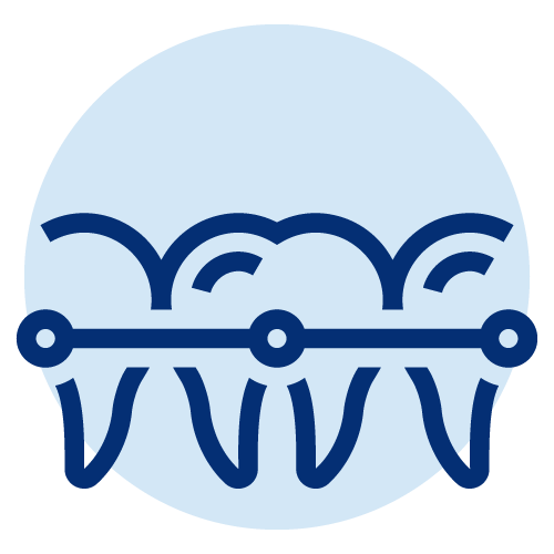 Icon of Multiple tooths that have been fixed over time
