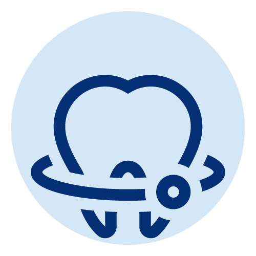 Line icon of a tooth with a line and a circle