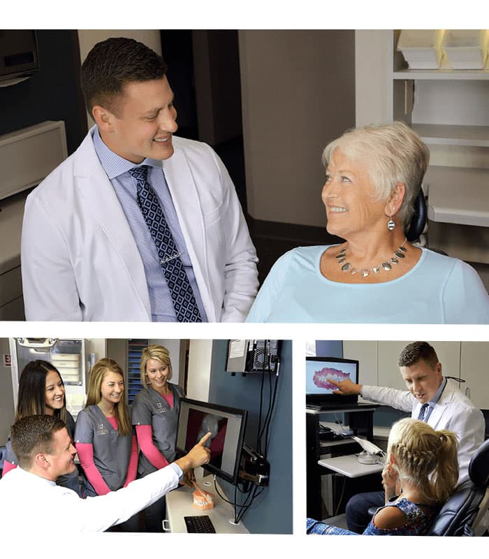 Trio of images showing Dr. Vetter with patients of various ages
